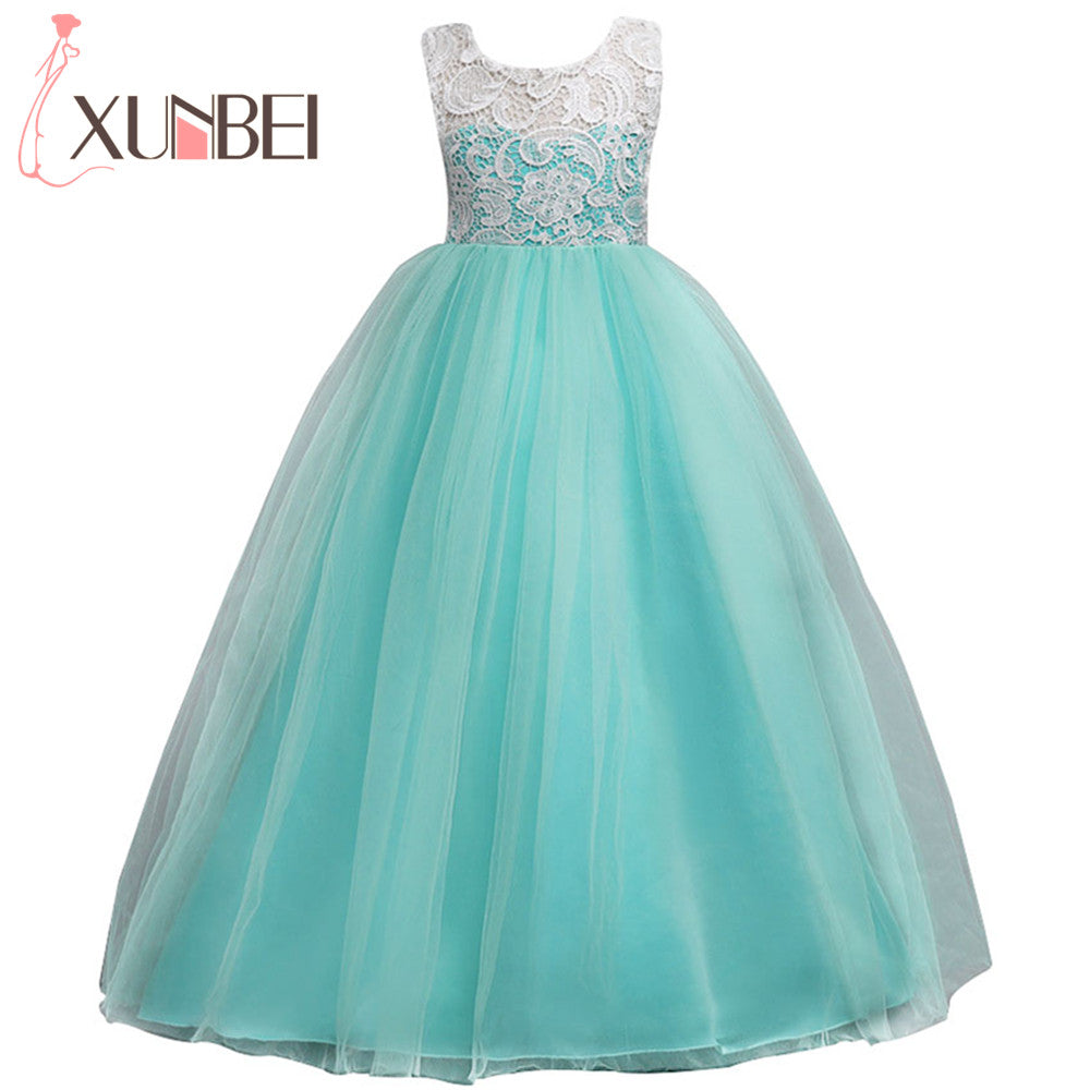 28421c6ff Floor Length Ball Gown Flower Girl Dresses 2018 Soft Tulle Lace First  Communion Dresses For Girls Kids Evening Gowns