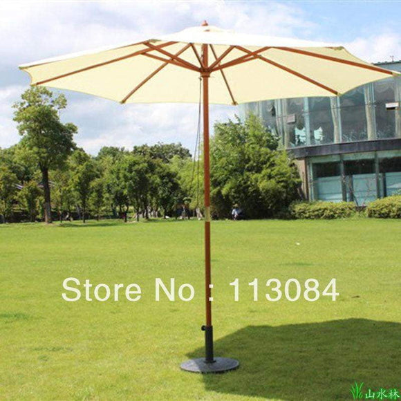 Free shipping 2.7 meters outdoor garden shade, rain-resistant, sun protection, big wood umbrella in 3 colors