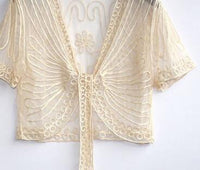 Free shipping All-match short-sleeve handmade crochet lacing women's shrug small cape cutout cardigan sweater - inaaz.biz