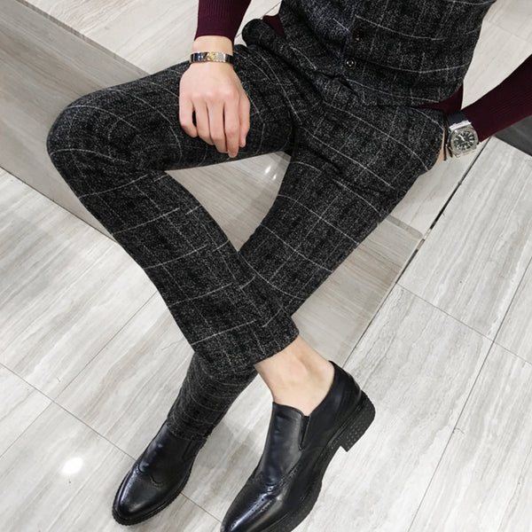 Frosted Men's Suit Plaid Trousers Black Navy Blue Yellow S M L XL 2XL 3XL 4XL 5XL Man Fashion Business Casual pants 2018 - inaaz.biz