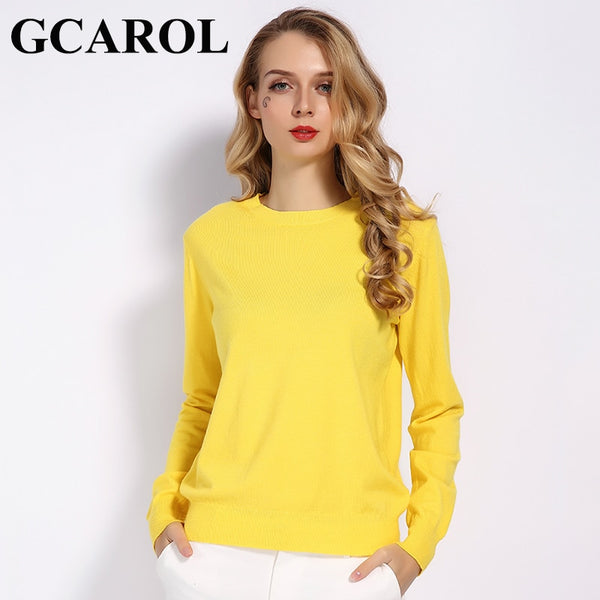 Women Sweater GCAROL Fall Winter Candy Knitwear Jumper Wool Sweater Soft Stretch Pullover Sweater S-3XL