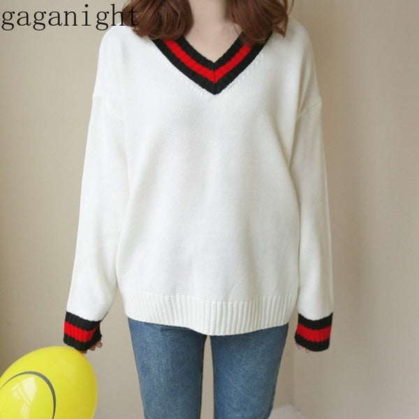 Women Sweater Gaganight Students Preppy Style Long Sleeve V Neck Pullovers New  Winter Sweaters Jumper
