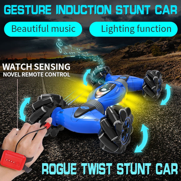 Gesture Sensing Stunt Remote Control Car Children's Light Music Twisting Car Deformation Vehicle