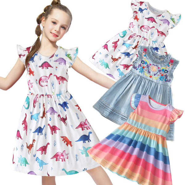 Girls Dress Princess Embroidered Children's Clothing Denim Dress