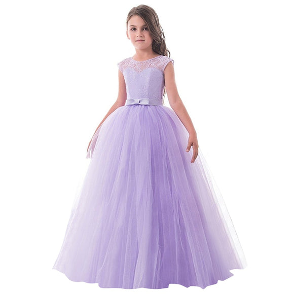 Girls dress party wear children summer sleeveless lace princess dress girls teenage long party dress