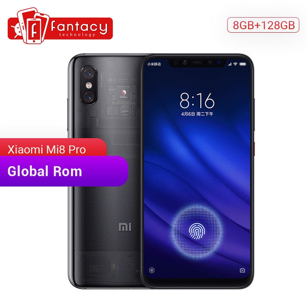Smartphone Xiaomi Mi 8 Pro Mi8 6GB 128GB Screen Fingerprint Snapdragon 845 Octa Core 6.21'' Dual Camera Mobile Phone