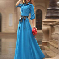 HEE GRAND Party Dress Women Floor-Long Plus Size Dress 2017 Spring A-Line Slim Maxi Dresses Vestidos With Sashes WQL1476