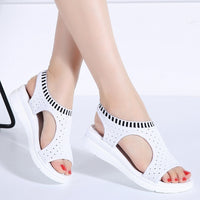 Women Sandals Peep Toe Wedges Shoes Ali VIP Summer Sandals Breathable Knitting Casual Sandals - inaaz.biz
