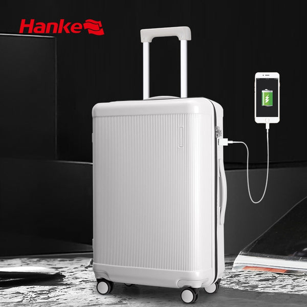 Designer Suitcase Hanke Rolling Luggage Bag Travel Trolley Case  With USB Charge Lock H9803