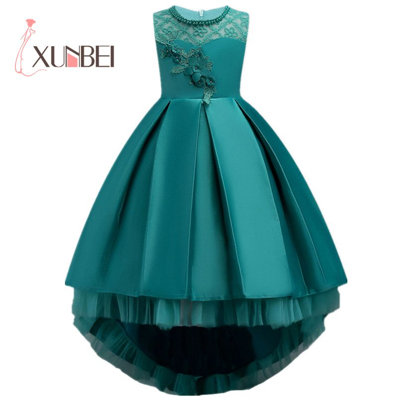 6cf97a5ff High Low Green Girls Pageant Dresses With Pears Tulle Flower Girl Dresses  Kids First Communion Dresses Evening Party Gowns