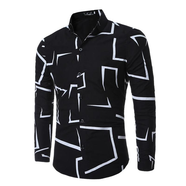 Men Shirt High Quality Brand Fashion Casual Slim Geometric Print Long Sleeve Shirt