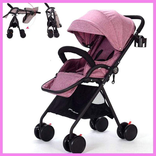 High View Lying Baby Stroller Lightweight Portable Baby Stroller Folding Child Car Adjustable Footrest Guadrail Umbrella Pram - inaaz.biz