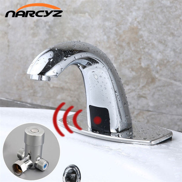 Water Saving Infrared Induction Sensor Faucet, Hot & Cold Automatic Sensor Water Tap battery powered mixer - inaaz.biz