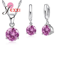 JEXXI New 2018 Crystal Necklaces Set 8 Colors 925 Sterling Silver Pendants Stud Earring Sets Women Cubic Zircon Jewelry
