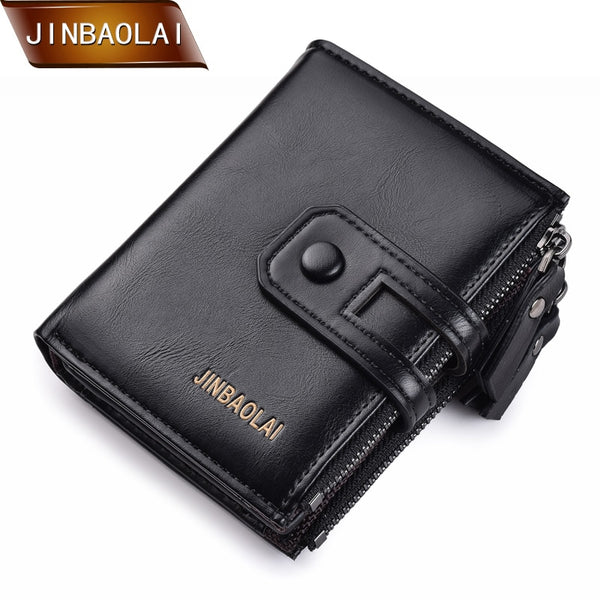 Men Wallet JINBAOLA Brand Double Zipper & Hasp Small Wallet Short Card Holder Coin Purse