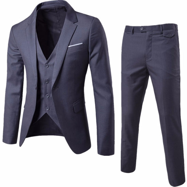 Men Suit Jacket Pant Vest Luxury Wedding Suits Casual Blazers Slim Fit Suits - inaaz.biz