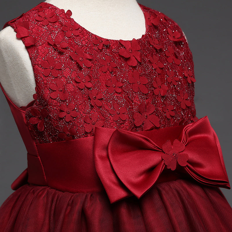 03911776993 JaneyGao 2018 New Flower Girl Dress Wine Red With Appliques Bow Elegant  Fashion Princess Pageant Party Formal Kids Gown Pink