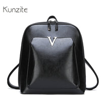 KUNZITE Women's Leather Backpack Fashion Retro Style Daily Backpack For Ladies And Girls Casual Large Capacity Rucksack Book Bag