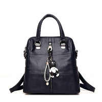 LANYIBAIGE Fashion Women Small Bear Pendant Backpack High Quality Leather Backpacks For Teenage Girls Female School Shoulder Bag - inaaz.biz