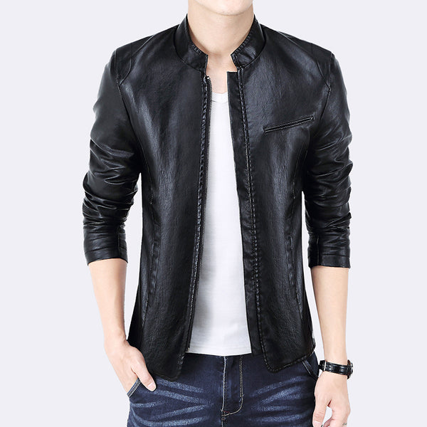 LEFT ROM 2019 autumn fashion men Pure color leather jacket coat /male high-grade Stand collar comfortable slim fit jacket M-5XL - inaaz.biz