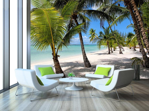 3D Wall Stickers, Beach Palm Tree Landscape Wallpaper, Vinyl Art Wall Mural, Home Decoration - inaaz.biz