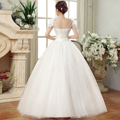 Women Wedding Dress New White Grace Sexy Boat Neck Cap Sleeves Lace Appliques Bridal Dress