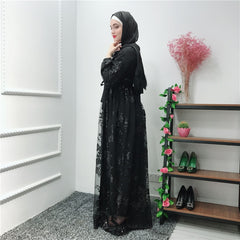 Abaya Muslim Dress Luxury Lace Embroidery Cardigan Long Gowns Jubah Middle East Islamic Clothing