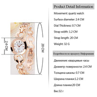 Lvpai Brand Rose Gold Luxury Women Dress Watches Girls Quartz Watch Bracelet Watch Ladies Fashion Crystal Round Wristwatch - inaaz.biz