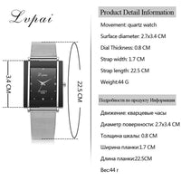 Lvpai Brand Women Bracelet Watch Silver Square Luxury Crystal Alloy WristWatches Women Fashion Men Watch Quartz Elegant Clock - inaaz.biz