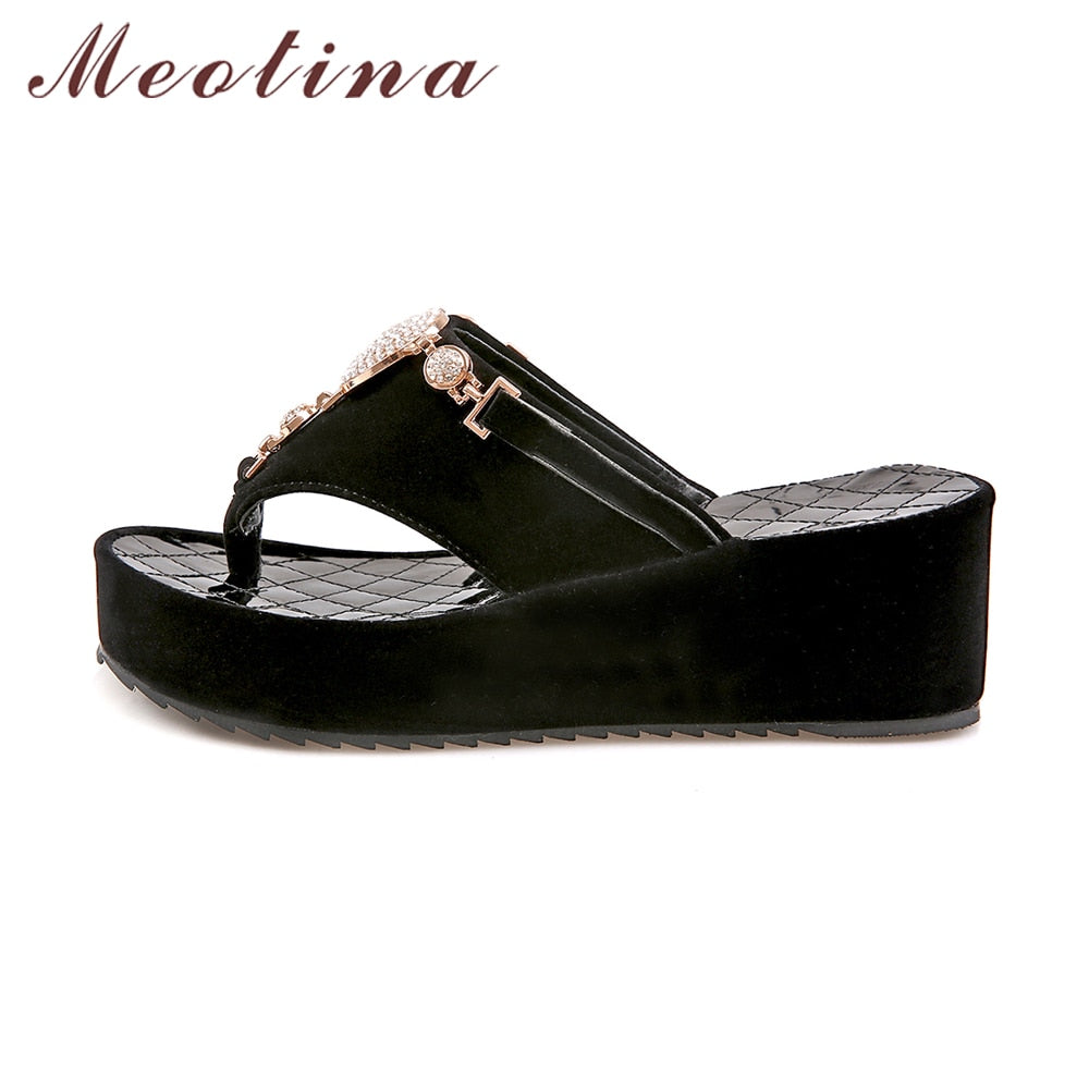 75be14e29 ... Meotina Flip Flops Shoes Women Platform Sandals Rhinestone Sandals  Ladies Sandals Beach Shoes Slippers White Black ...