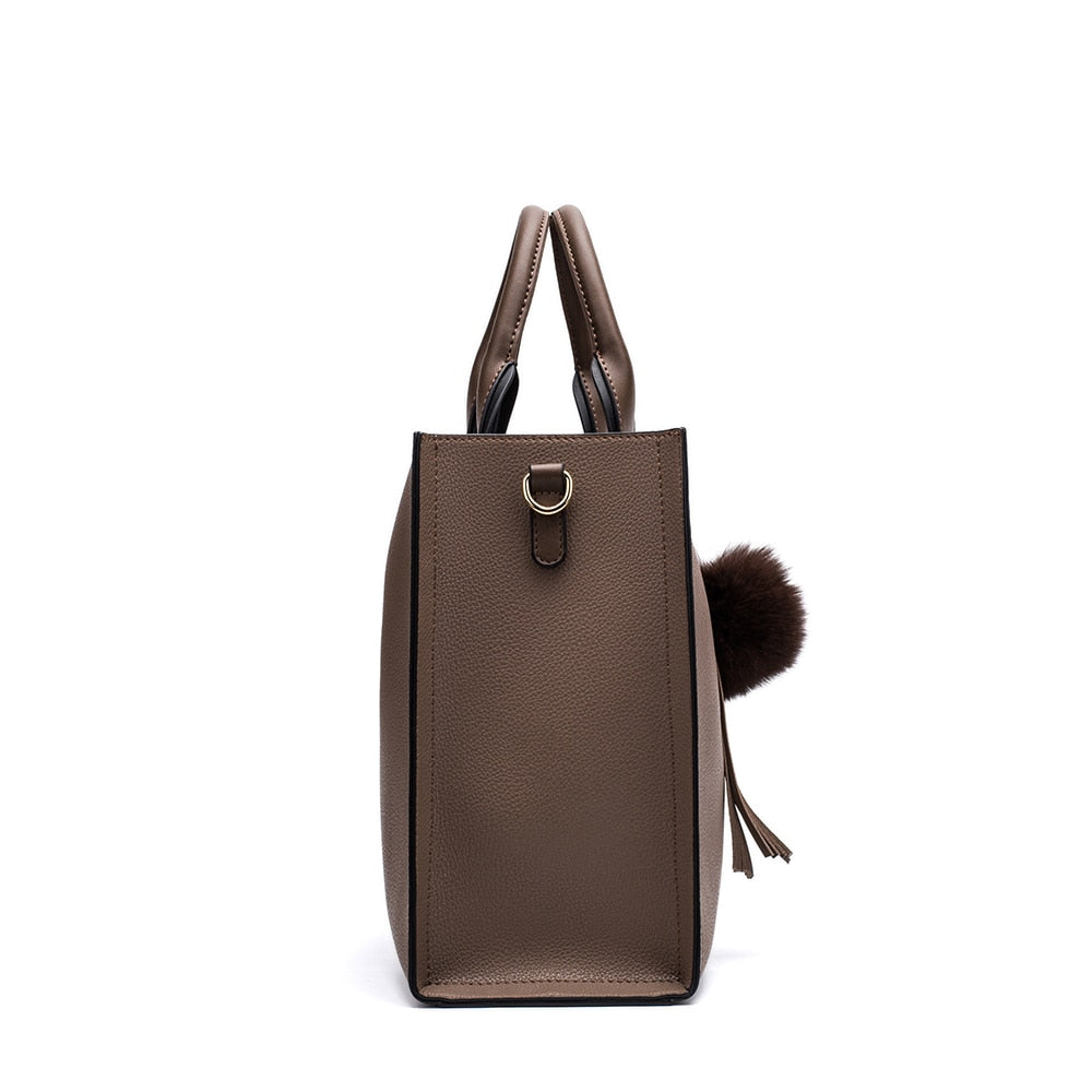 c3ec77c16f9 Miyaco Women Leather Handbags Casual Brown Tote bags Crossbody Bag TOP-handle  bag With Tassel and fluffy ball