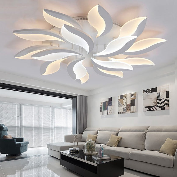 Modern LED Chandelier Ceiling Mounted Lamp Home Decor Dimmable Leaf Petal Acrylic LED Lighting Fixture for Living Room Bedroom