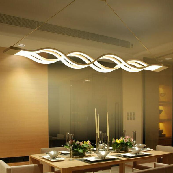 Modern LED chandeliers wave design LED pendant Light 40W/80W for Dining room Living room - inaaz.biz