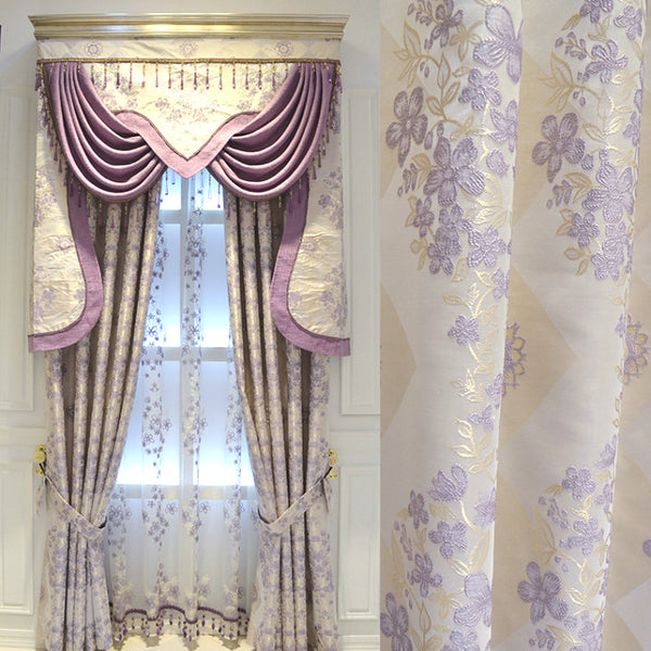 Curtain Modern Purple Finished European Style Curtains for Living  Bed Room