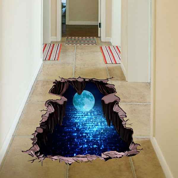 3D Cosmic Space Wall Sticker, Floor Sticker Galaxy Star, Home Decoration - inaaz.biz