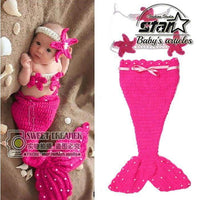 New Born Cute Mermaid Design Infant Baby Wool Clothes Set Knitting Photography Baby Girls Outfits Red Rosered Cosplay Costume - inaaz.biz