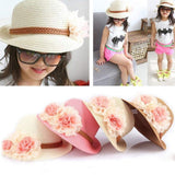 New Fashion Baby Girls Children Kids Summer Flower Sun Adumbral Straw Hat Beach Cap Kids Gift 51 cm 5-12T - inaaz.biz