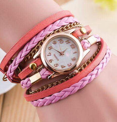 New Fashion Winding Bracelet Watch Women Casual Dress Watches relojes mujer Vintage Leather Ladies Quartz Wrist watch Clock Gift