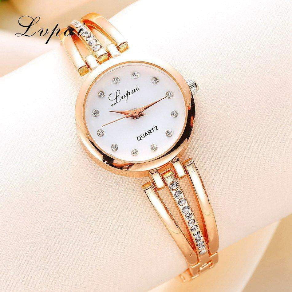 New Lvpai Fashion 2019 Luxury Rhinestone Watches Women Stainless Steel Quartz Watch For Ladies Dress Watch Gold Bracelet Clock
