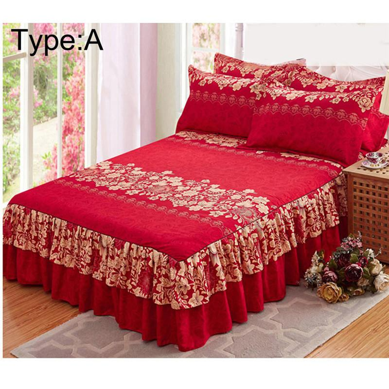 New Sanding Bedspread Queen Bed Skirt Thickened Fitted Sheet Single