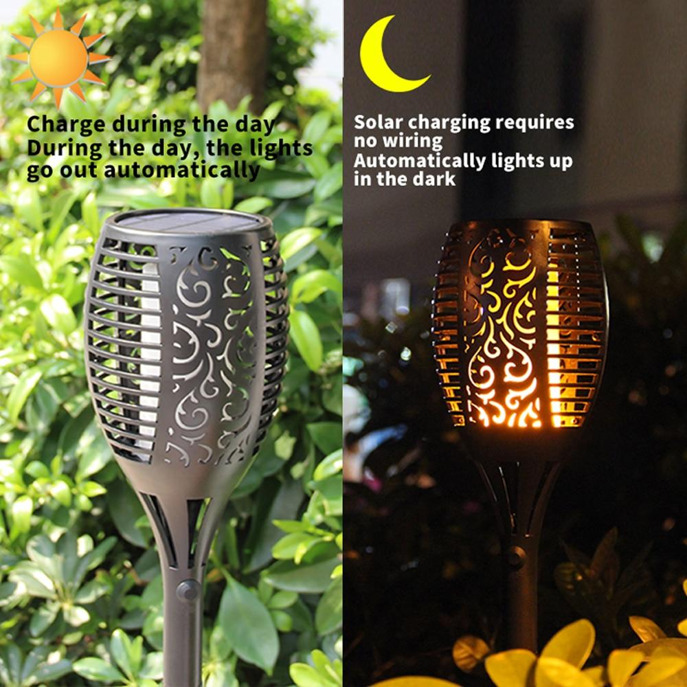 New Solar Flame Light 96 Led Outdoor Waterproof Landscape Torch Wall No Wiring Lamp Garden Yard Lawn
