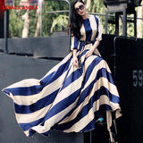 New Style Fashion Bohemian Stripe Floor-Length Long Dress Muslim Female O-neck Three-Quarter Sleeve Dresses Women's