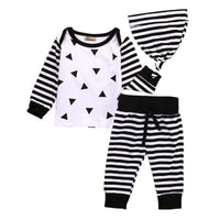 Newborn Toddler Infant Baby Boy Girl Long Sleeve Tops Long Pants Hat 3PCS Casual Outfits Set Clothes