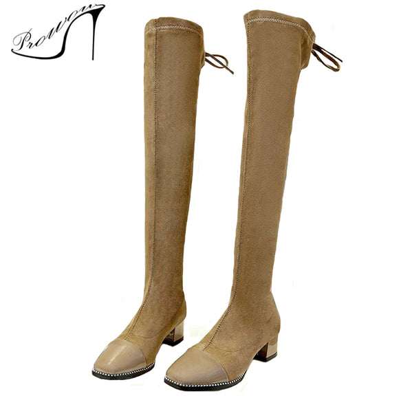28fedf6d79a PROWOW Stretch Long Shoes Woman Elastic Boots Platform Shoes Female Square  Heel PU And Flock Over