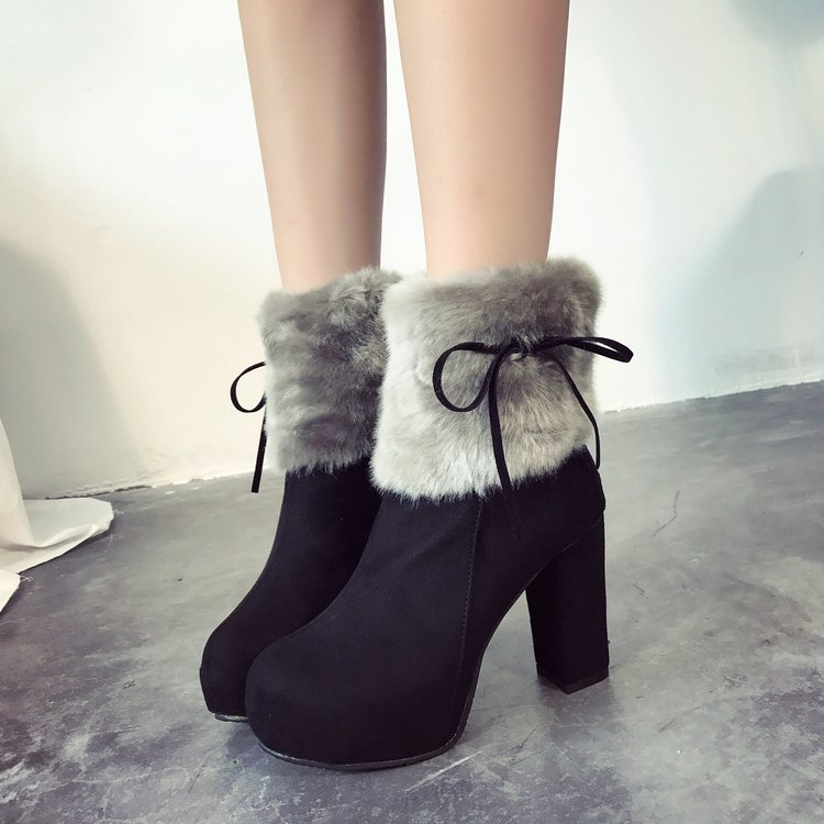 6c53d9ed6f PROWOW Winter High Heel Boots Warm Plush Square Heels Shoes Women's Boots  Ladies Ankle Snow Boots Soft Furry Blue Woman Shoes