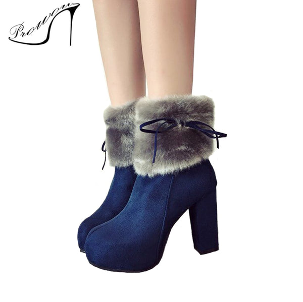 PROWOW Winter High Heel Boots Warm Plush Square Heels Shoes Women's Boots Ladies Ankle Snow Boots Soft Furry Blue Woman Shoes