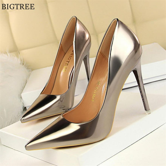 69e8ae75fd Patent Leather Thin Heels Office Shoes New Arrival Women Pumps Fashion High  Heels Shoes Women's Pointed