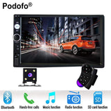 "Podofo 2 din car radio 7"" HD Player MP5 Touch Screen Digital Display Bluetooth USB SD Multimedia 2din Autoradio Rear View Camera - inaaz.biz"