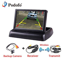 Podofo 4.3 Inch TFT LCD Car Monitor Foldable Monitor Display Reverse Camera Parking System for Car Rearview Monitors NTSC PAL - inaaz.biz