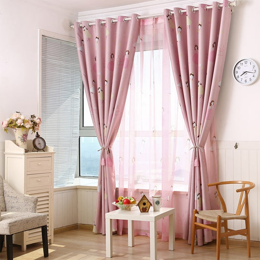 Curtains Popangel new polyester pink princess printed children bedroom  blackout window curtains